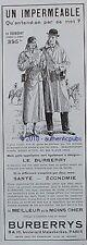 PUBLICITE BURBERRYS IMPERMEABLE  HOMME ET FEMME SIGNE J. SCOTT DE 1935  AD PUB