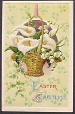 EMB Easter pc Basket of Beautiful Calla Lilies & Lily of the Valley pc ca 1910