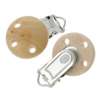 5pcs New Wood Baby Pacifier Holder Clip Round Natural 4.7cm x 2.9cm