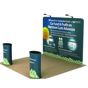 10ft portable trade show display booth pop up stand back wall with custom print