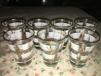 "7 VTG Libbey Gold Leaf Glass Cocktail Tumbler 3 1/2"" x 2 3/4"" White Band 4oz MCM"