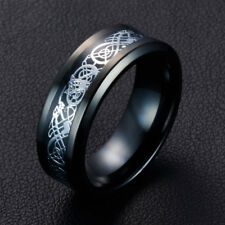 New 8MM Silvering Celtic Dragon Tungsten Carbide Ring Mens Jewelry Size7-10/US