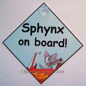 Sphynx cat art sign on board laminated from original painting by Suzanne Le Good