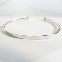 Solid 925 Sterling Silver ID Identity Torque Cuff Bead Bangle Bracelet