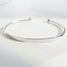 Solid 925 Sterling Silver Solid ID Torque Cuff Bangle Bracelet Baby Gift 5g +Box