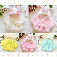 Toddler Baby Girl Fur Winter Soft Warm Coat Cloak Jacket Thick Hooded Outerwear