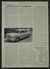 Hudson Rambler Station Wagon Review Spec Road Test 1956 1 Page Photo Article