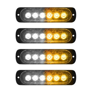 4x 6-LED White Amber Car Recovery Flashing Grille Beacon Warning Strobe Lights
