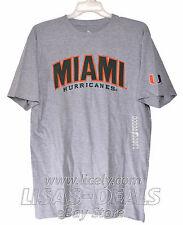 New Mens Knights Apparel University of Miami Hurricanes T-Shirt Football Gray L
