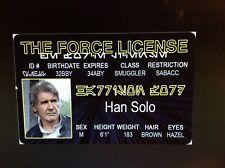 Star Wars Han Solo Harrison Ford Smuggler fake Id i.d card Drivers License