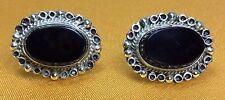 Antique Fine Sterling Silver Mexico Onyx Gemstone Screw Back Ladies Earrings