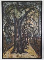 Large Oil Painting on Board Forest Trees Landscape Signed Framed Vintage