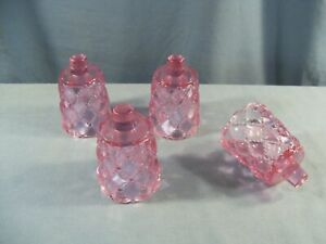 Lot of 4 Lavender Pink Glass Diamond Quilt Peg Pegged Votive Candle Holders