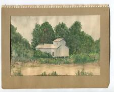 VINTAGE 1939 CLAREMONT CA WATER PUMP HOUSE NEAR INDIAN HILL GOLF COURSE PAINTING