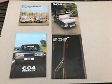 JOB LOT CLASSIC CAR BROCHURES 1980'S X4 PEUGEOT 104 , 504 , 505 , 604