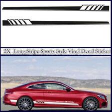 1 Pair Car Side Body Sports & Long Stripe Graphics Vinyl Decal Sticker Black