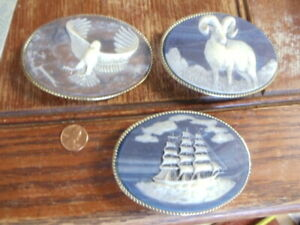 Lot of 3 Incolay Stone Belt Buckles Eagle Ram & 3 Mast Ship
