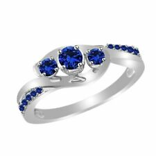 Gold Over 925 Sterling Silver Blue Sapphire Three-Stone Engagement Ring 14k