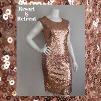 Rose Gold Sequin Evening Dress, Size 14, Elegant, Formal, Evening, Party Dress