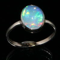 Natural Ethiopian Welo Fire Opal Cabochon Ring 925 Sterling Silver GB2175