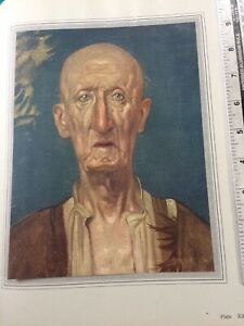 Vintage C 1918 tipped in colour print, Head of an Old Man by Frank Brangwyn
