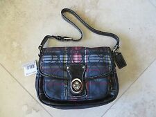 NEW COACH Poppy Penny Flap Purse Bag Red Black Plaid Tartan Black Patent NWT