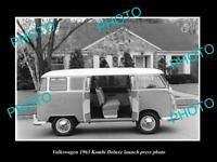 OLD POSTCARD SIZE PHOTO OF 1963 VOLKSWAGEN KOMBI DELUXE LAUNCH PRESS PHOTO