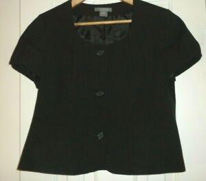 Ladies 12P Ann Taylor Petites Jacket Blazer Short Sleeve Black Lined Big Buttons