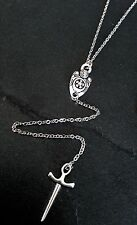Silver Shield & Dagger Y-Style Pendant Necklace on Stainless Steel Chain