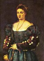 "Art Oi painting Tiziano Vecellio - The beauty - Female portrait canvas 24""x36"""