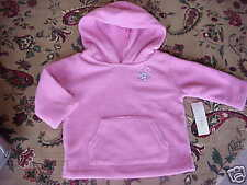 Nwt Toddler Girls Soft Supreme Fleece Hoodie Pink 12 mo