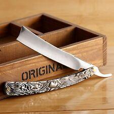 Retro Straight Edge Stainless Steel Barber Razor Folding Shaving Knife Aluminum