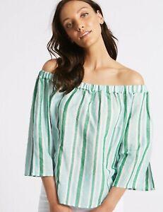 BNWT M&S COLLECTION Linen Rich 3/4 Sleeve Green White Stripe Bardot Top    (ATC)