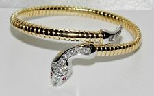 9ct Gold on Silver Ruby & Zircon Snake / Serpent Adjustable Bangle