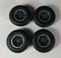 "4 Meccano Erector Set Modern Parts - 67x29 Large 2 5/8"" Rubber Tires Grey Rims"