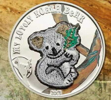 Palau 2013 Lovely Koala Swiss Embroidery Silver Coin,Proof
