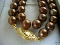 18 INCH HOT HUGE AAA 10-11mm south sea chocolate pearl necklace 14K GOLD CLASP