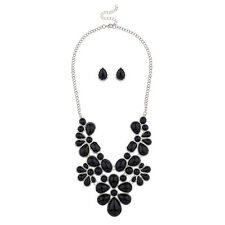 Lux Accessories Black Faceted Flower Floral Bib Statement Necklace Matching Ear