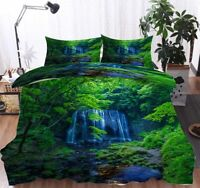Mountain Waterfall 3D Quilt Duvet Doona Cover Set Single Double Queen King Print
