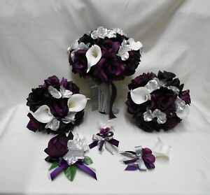 Wedding Bridal Bouquets 4 Piece Package Silk Flowers Party Picasso Real Touch Calla Lily PLUMEGGPLANT PURPLE White Lily of Angeles PUWT04