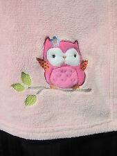 Circo Target Pink Baby Blanket Owl Bird Embroidered Soft Plush Fleece Forest