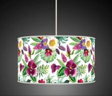 TROPICAL LEAVES FLORAL PURPLE GREEN HANDMADE LAMPSHADE CEILING LIGHT TABLE 920