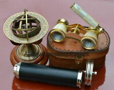 "7"" BRASS DOUBLE WHEEL KALEIDOSCOPE W/ MOTHER OF PEARL BINOCULAR W/ LEATHER BOX"