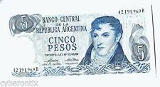 1969 Argentina Banknote 5 Pesos P69 Decreto-Ley Uncirculated Mint