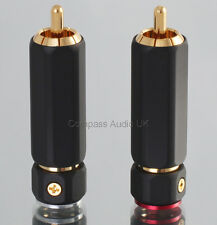 2 PRO PHONO RCA PLUGS Heavy Duty Locking WBT Type Connectors 9mm Cable Entry