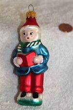 Vintage blown glass carroler ornament Blue and red