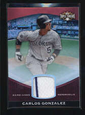 CARLOS GONZALEZ 2011 TOPPS TRIPLE THREADS GAME USED WORN JERSEY #21/36 AB5872