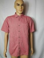 The North Face Mens Medium Button Down Shirt Red Short Sleeve Outdoor Hiking
