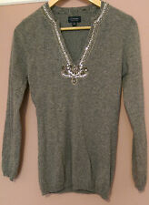 WITCHERY Grey V-Neck Knit Silver Sequin Beaded Long Sleeve Jumper - size Small