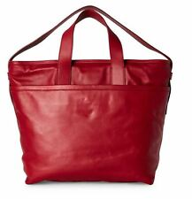 JIL SANDER NAVY Large Classic LEATHER Tote BORDEAUX RED Handbag w Dust bag BNWT